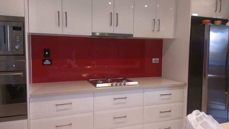 White Kitchen Orange Splashback scudz painted splashbackz